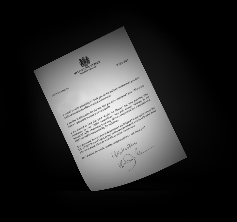 Lettr from Prime Minister to Monterey Jacks